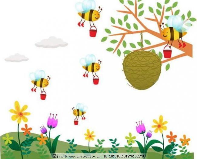 背景素材 草原 插画 动漫 动漫设计 动漫玩偶 儿童世界 广告设计 蜜蜂