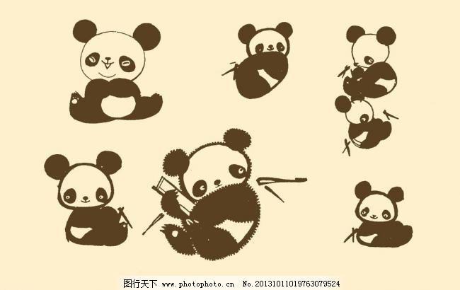 动物插画 插图 版画 简笔画 风光 装饰画 儿童画 线条 手绘 幼儿 熊猫