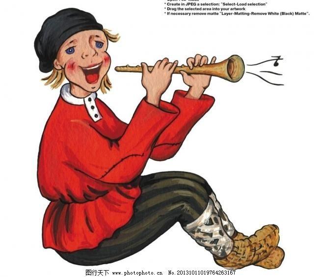 欧美插画 设计 食品包装 插画人物 欧美插画 卡通人物 吹喇叭 手绘