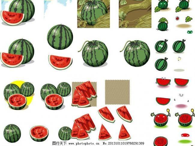 西瓜合集模板下载 西瓜合集 手绘西瓜表情 西瓜 夏天 太阳 水果 健康图片