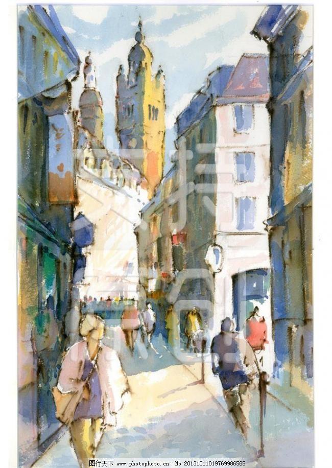 抽象画 创意 手绘 抽象画 彩绘设计素材 彩绘模板下载 彩绘 行人 欧式