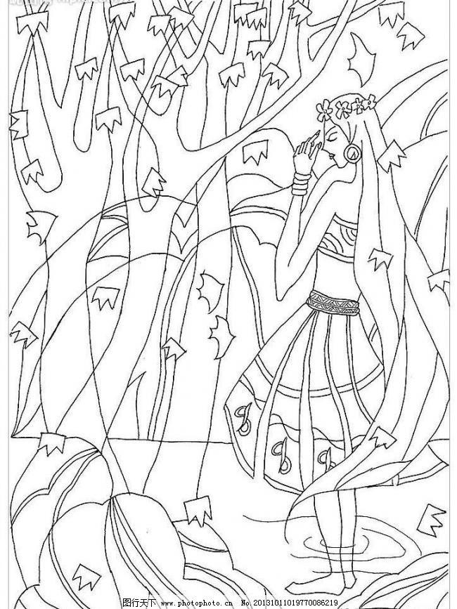 装饰画 装饰画图片免费下载 插画 传统 黑白画 绘画书法 民族