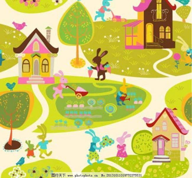 背景元素 草地 草原 插画 大树 底纹背景 底纹边框 动物世界 小兔子