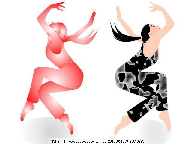 街舞女孩矢量图图片
