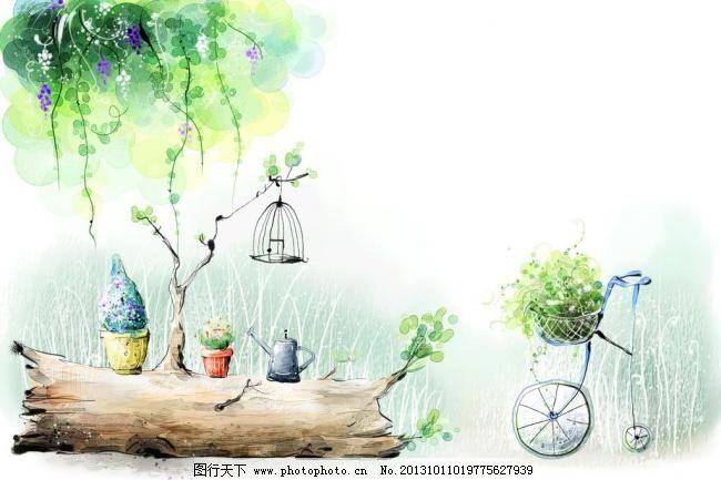 水彩画 psd水彩风景 水彩风景插画 水彩画 风景 插画 盆载 藤蔓 单车