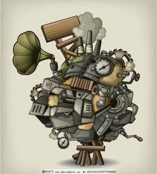 废旧 废品 机器垃圾 插画 背景画 动漫 卡通 时尚背景 背景元素 图画