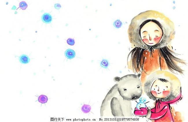 350dpi jpg 彩铅画 插画 冬天 动物 动物园 儿童画 儿童生活 花草