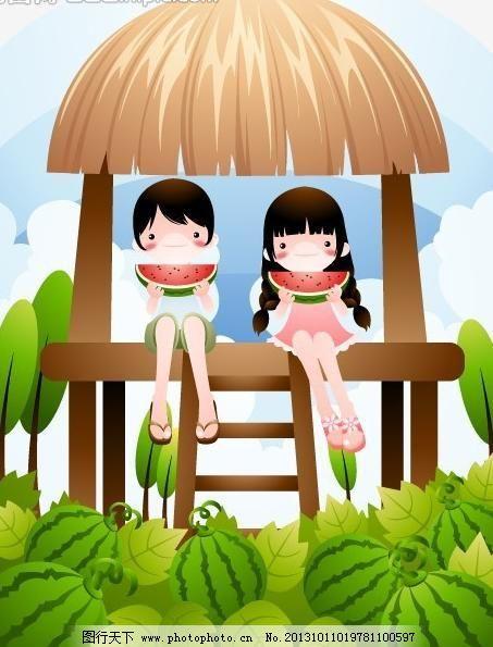 风景 花草 梦幻 秋天 树叶 动物 可爱 儿童 快乐 开心 卡通儿童插画图片