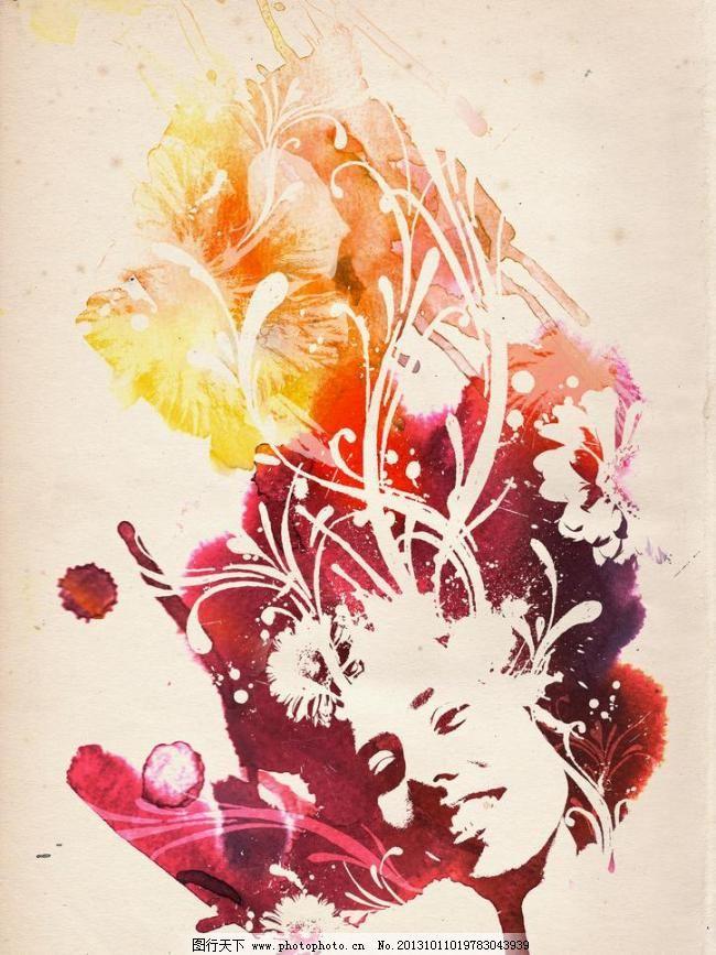 水彩画模板下载 水彩画 插画 创意 女人 花 留白 背景底纹 底纹边框