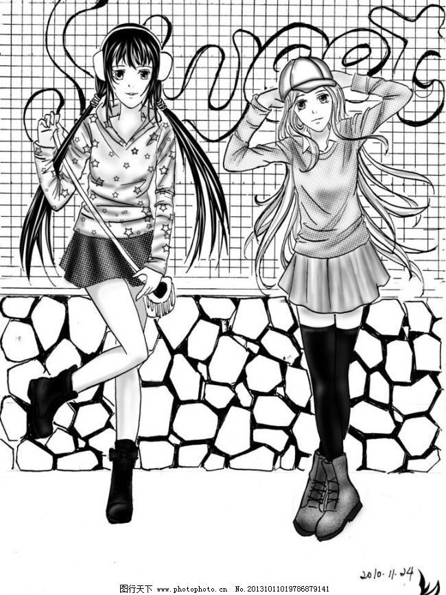 人物线稿 动漫动画 动漫人物 黑白插画 漫画 少女 手绘 人物线稿设计