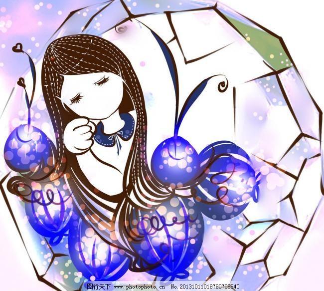 动漫人物 可爱 浪漫 少女 少女睡觉 少女 水晶球 晚安 圆点 cg 手绘