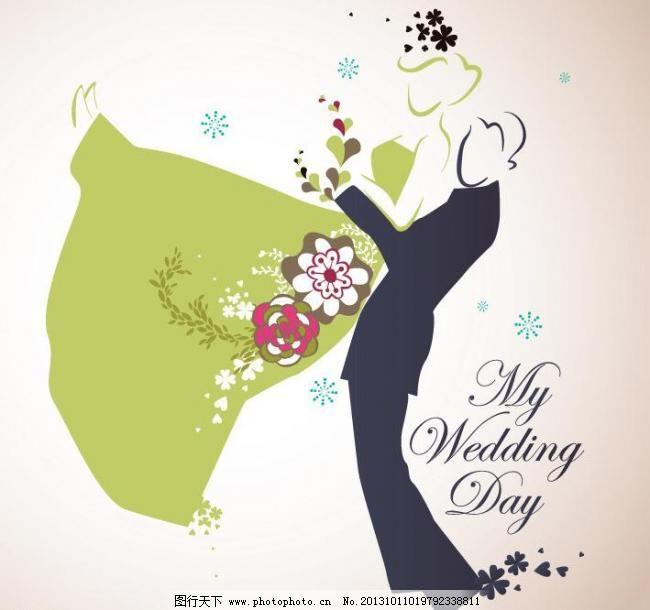 结婚婚礼主题插画矢量图片
