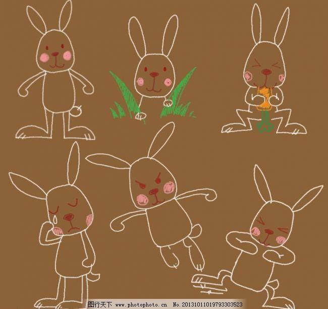 手绘卡通兔子 插画 动物 粉笔画 可爱 其他 手绘卡通兔子素材下载