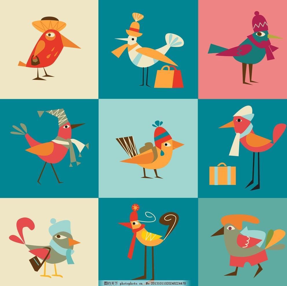 卡通背景 小鸟背景