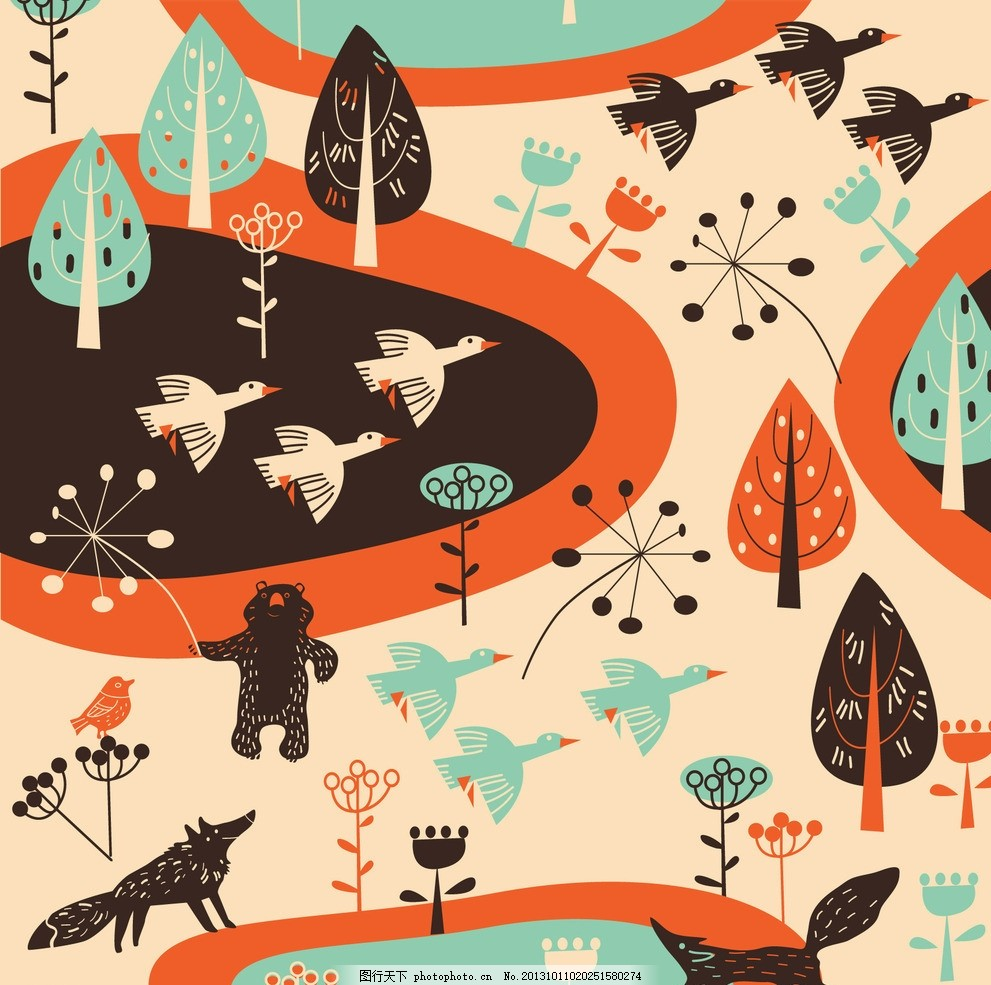卡通背景 动物世界 可爱卡通背景 卡通玩具无缝背景 小鸟 大雁 飞鸟