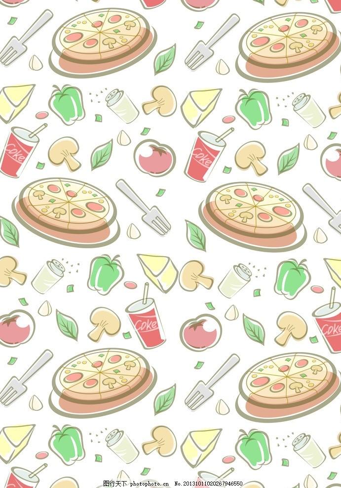 卡通背景 食物背景 可爱卡通背景 卡通玩具无缝背景 比萨饼 蛋糕