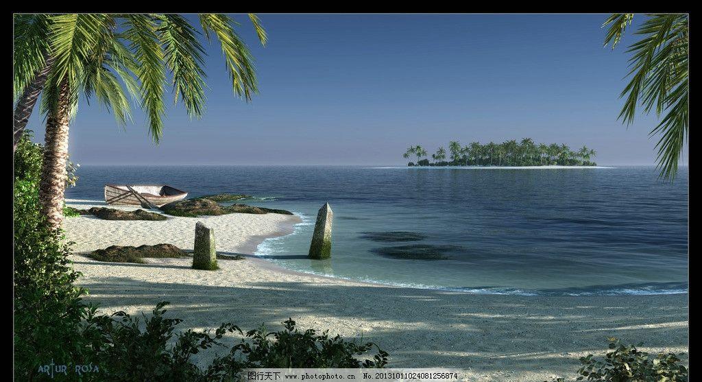 小岛海滩图片