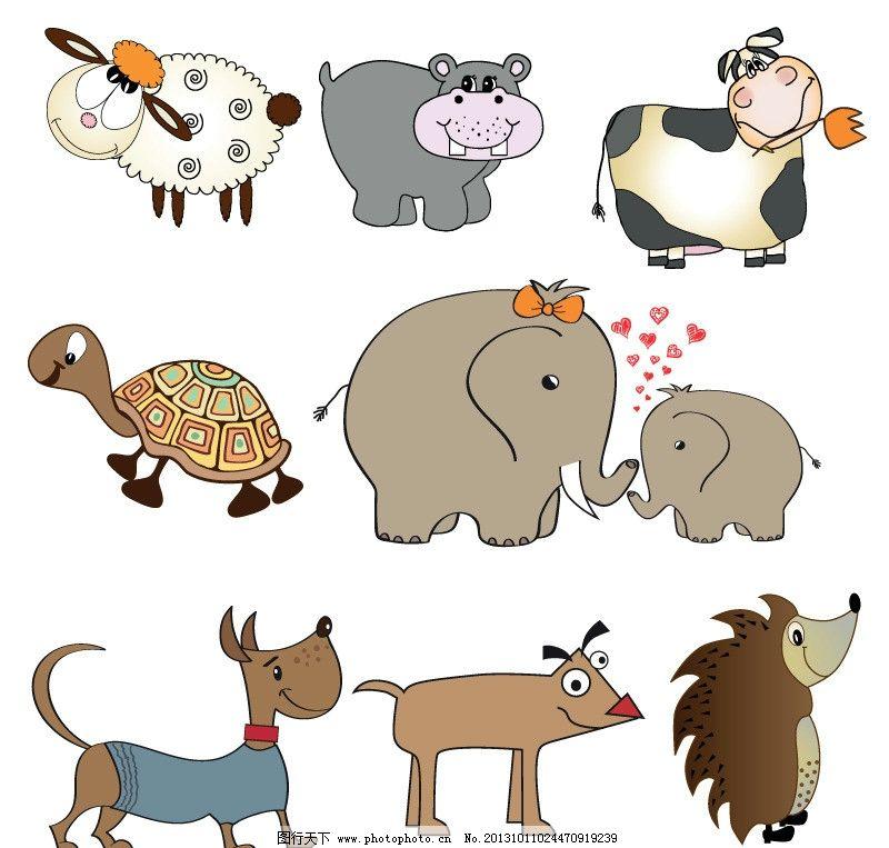 卡通动物 大象 刺猬 乌龟 小羊 小狗 矢量