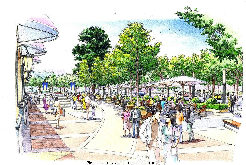 手绘景观 城市 景观 商业 广场 手绘 景观设计 环境设计 设计 96dpi
