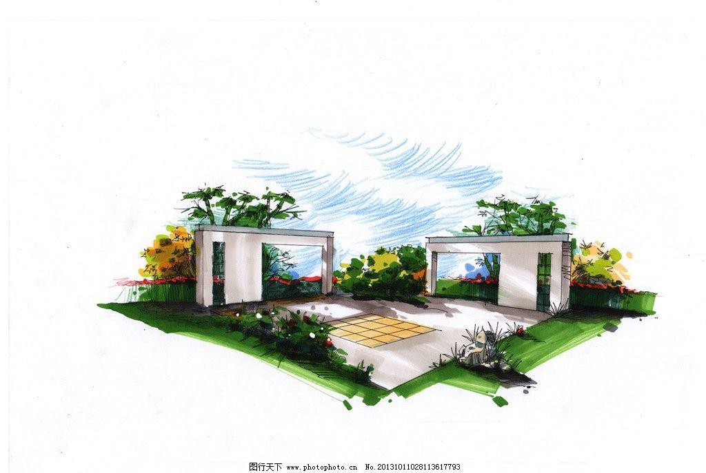 景观手绘透视图方案 景观 手绘 透视图 方案 景墙 景观设计 环境设计