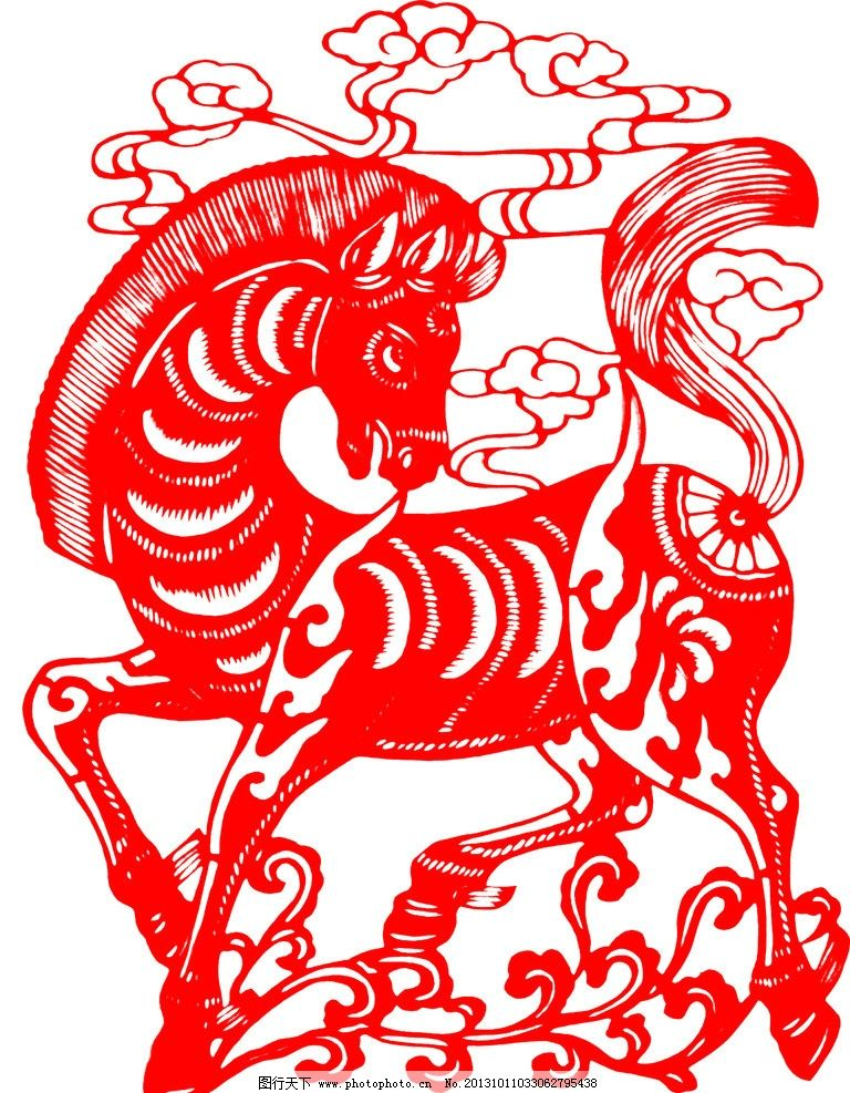 骏马剪纸 动物 云朵 民间艺术图片素材 psd-中国传统规则木花纹图案图片