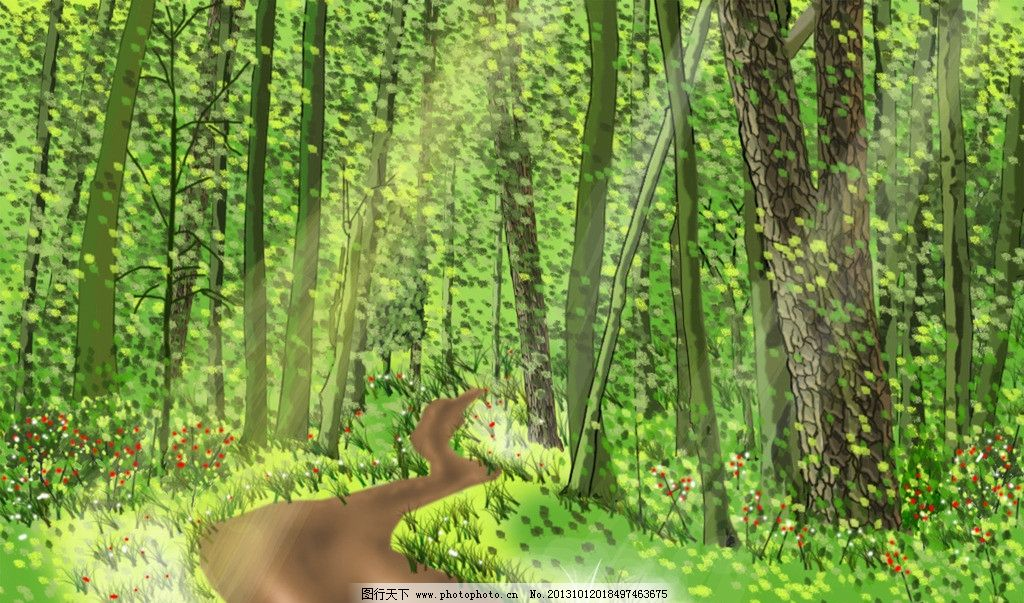 夏林 动漫 夏天 山林 树林 绿色 林间小路 阳光 手绘 手绘图 风景漫画图片