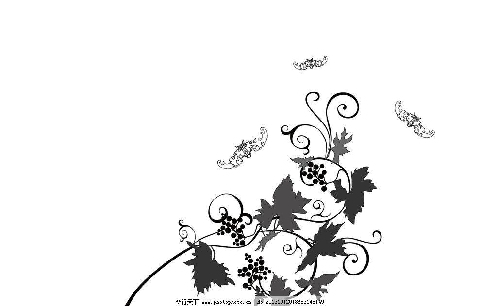 蝙蝠采花草 花草 蝙蝠 植物 动物 采花 其他 动漫动画 设计 300dpi