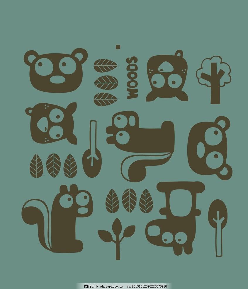 可爱卡通背景 卡通玩具无缝背景 小动物 猴子 小熊 松树 碎花 插画