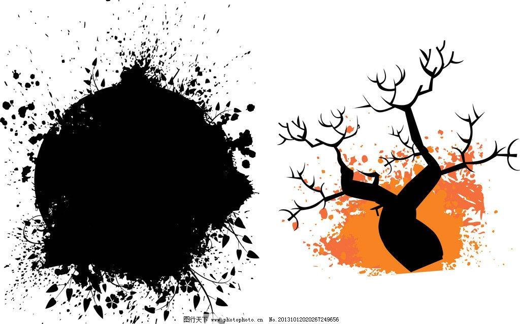 泼墨 纹理 树叶 树枝 树木 神秘 斑点 黑 底纹背景 底纹边框 矢量 ai