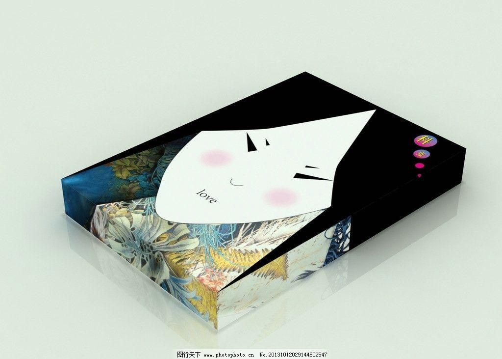 艺术丝巾包装盒(展开图) 丝巾 女孩 脸 图案 包装盒 艺术 包装设计