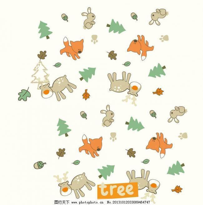 小兔子 狐狸 小动物 松树 大树 小鹿 驯鹿 麋鹿 碎花 插画 背景画