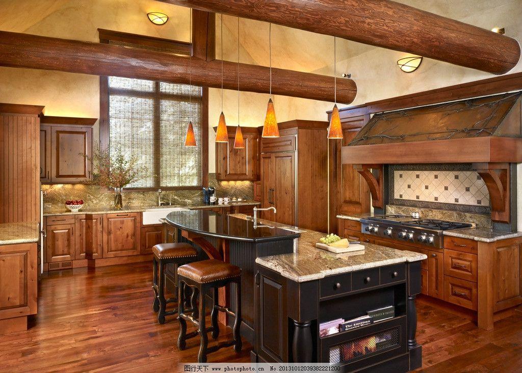 厨灶 天然气灶 餐具 美式厨房 整体厨房 餐厅 桌椅 餐桌 豪宅 实木