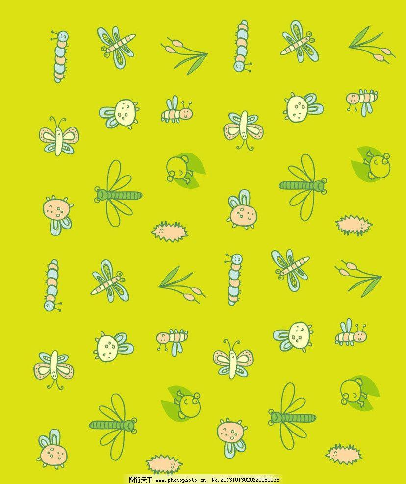 昆虫底纹 昆虫 蜻蜓 鲜花 蜜蜂 儿童 动物图案 卡通动物 动物园 卡通