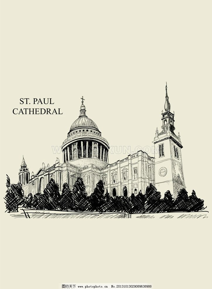 欧洲素描建筑 建筑物 欧洲古堡 欧式建筑 复古伦敦建筑物 其他 建筑
