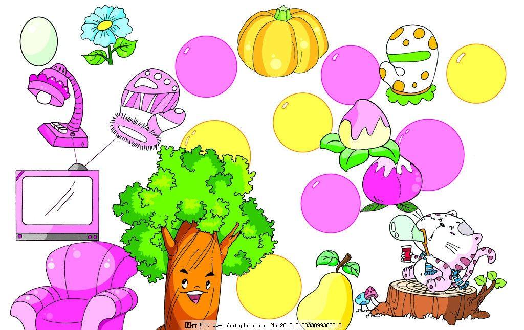 卡通手绘图 手绘树 手绘小猫 手绘泡泡 手绘小树 手绘沙发 手绘手套
