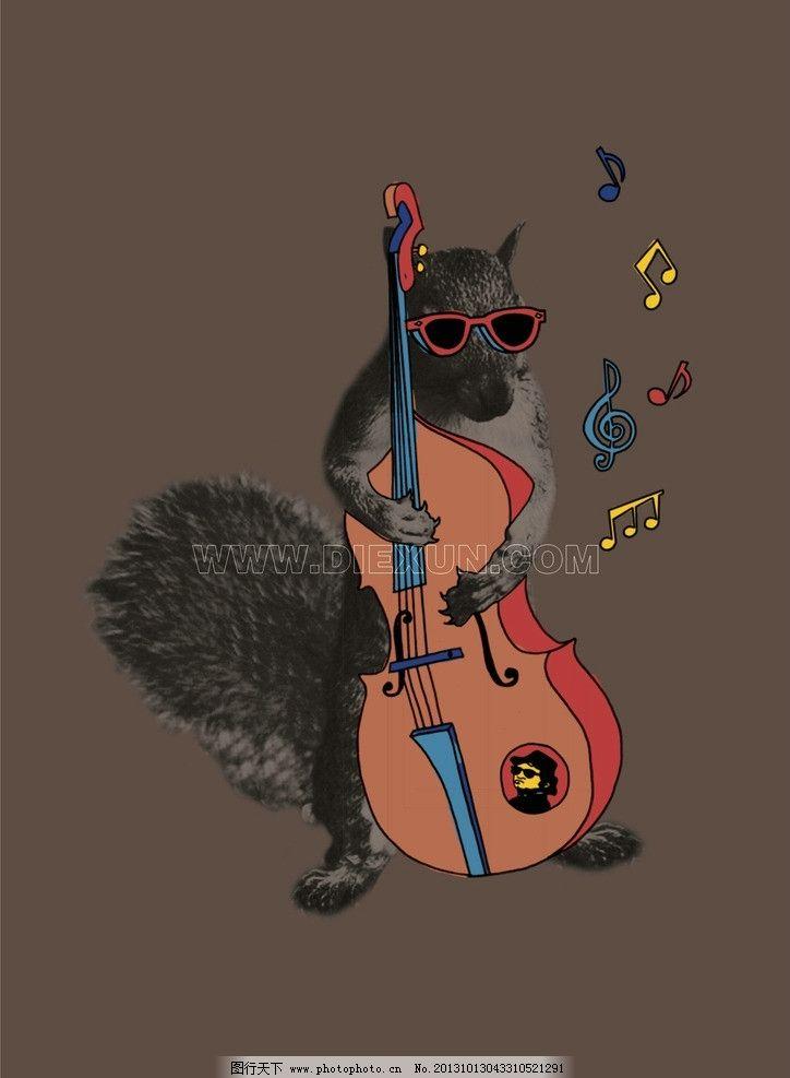 可爱松鼠 可爱卡通动物 乐器 吉他 玩吉他的松鼠 卡通设计 广告设计