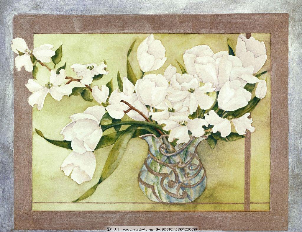 花卉油画 瓶子 水彩画 蜡笔画 外国画 绘画书法 文化艺术