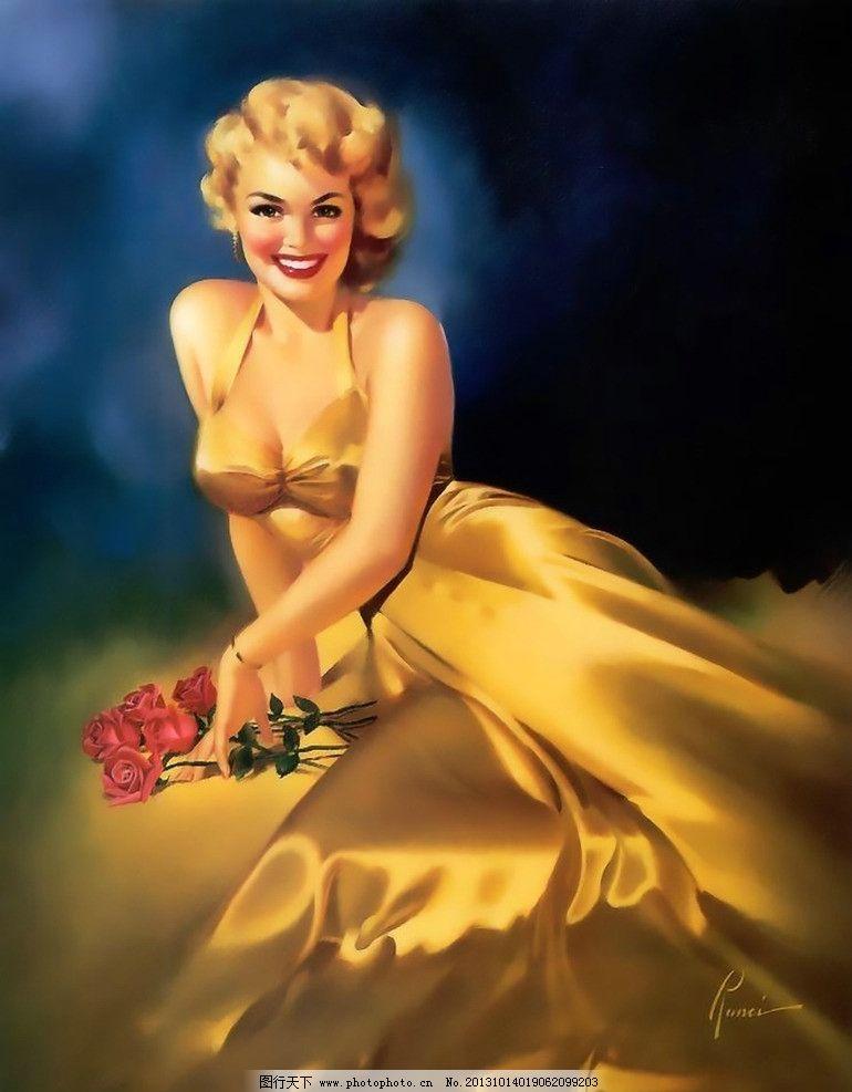 欧美复古招贴画 复古欧美美女 插画设计素材 欧美美女 复古美女 人物 绘画 美女招贴画 绘画书法 文化艺术 设计 Pin up girl 欧美复古美女招贴画 女性妇女 人物图库 性感 美女 金色 礼服 花 72DPI JPG