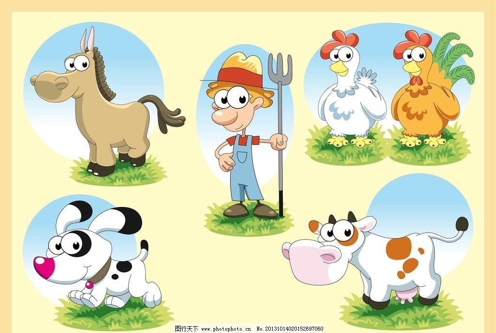 卡通农场 卡通鸡 卡通牛 卡通马 卡通狗 卡通人物 矢量人物 矢量动物