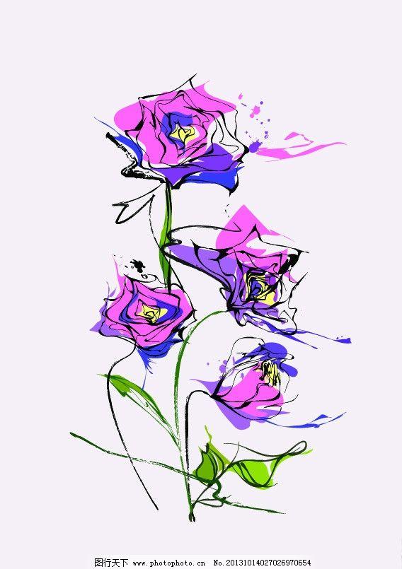 花朵 时尚插画 涂鸦 玫瑰花 鲜花 矢量 背景底纹 花草 生物世界 ai
