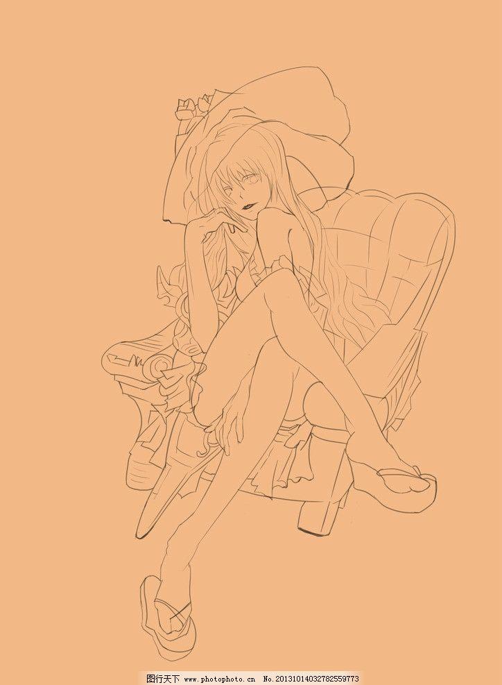 妖娆的美女 手绘 插画 性感 复古 人物 源文件
