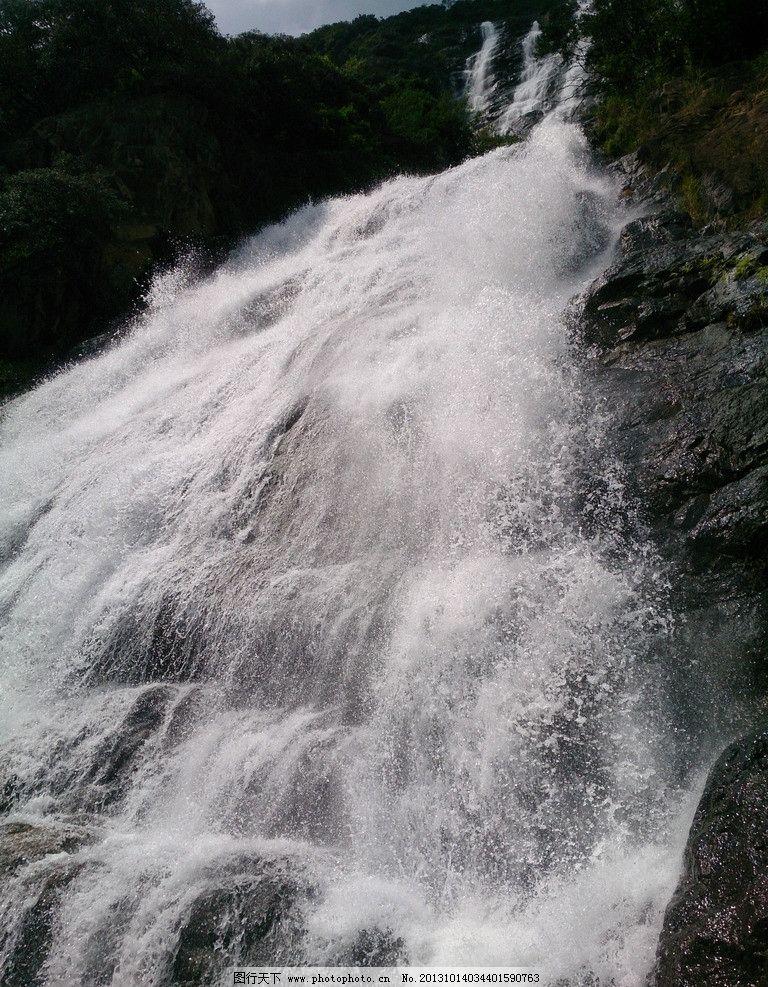 高山瀑布蓝天白云 瀑布 高山流水 蓝天白云 泉水 大自然 石头 巅峰