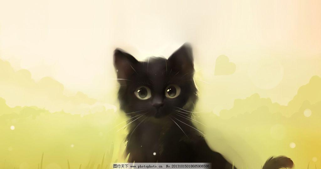 手绘猫 手绘猫设计素材 手绘猫模板下载 小猫 水彩 泡泡 动漫动画