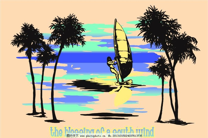 风景画 海边 沙滩 椰子树 冲浪 帆船 人 大海 梦幻天空 时尚插画