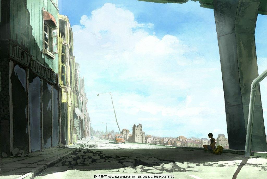 动漫风景 房子 汽车 动漫场景 手绘 数字绘画 艺术 动漫壁纸 风景漫画
