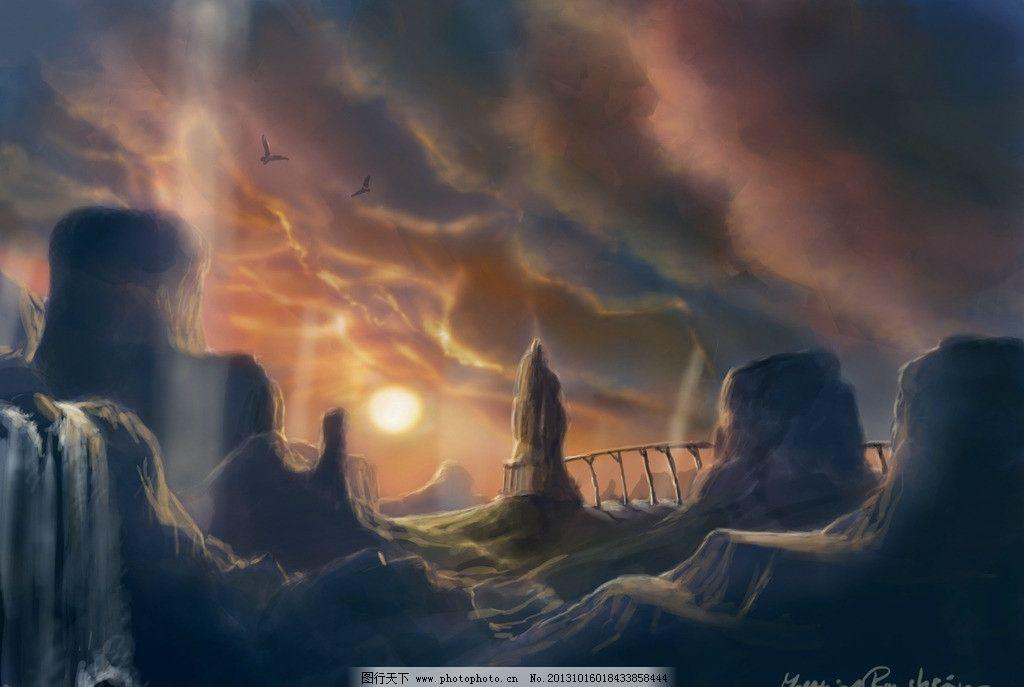 动漫风景 云雾 太阳 动漫场景 手绘 数字绘画 艺术 动漫壁纸 风景漫画