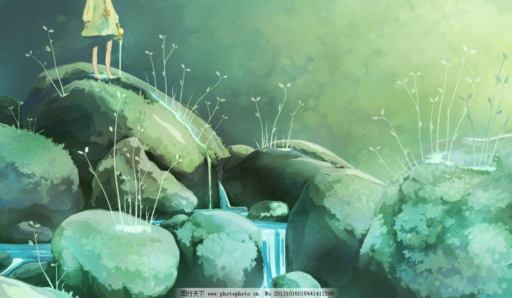 动漫风景 石头 溪水 动漫场景 手绘 数字绘画 艺术 动漫壁纸 风景漫画