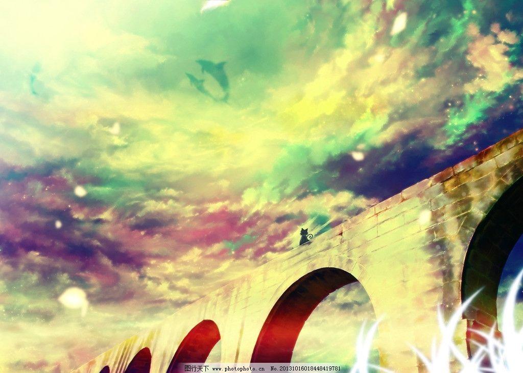 动漫风景 五彩斑斓 拱桥 猫咪 动漫场景 手绘 数字绘画 艺术 动漫壁纸