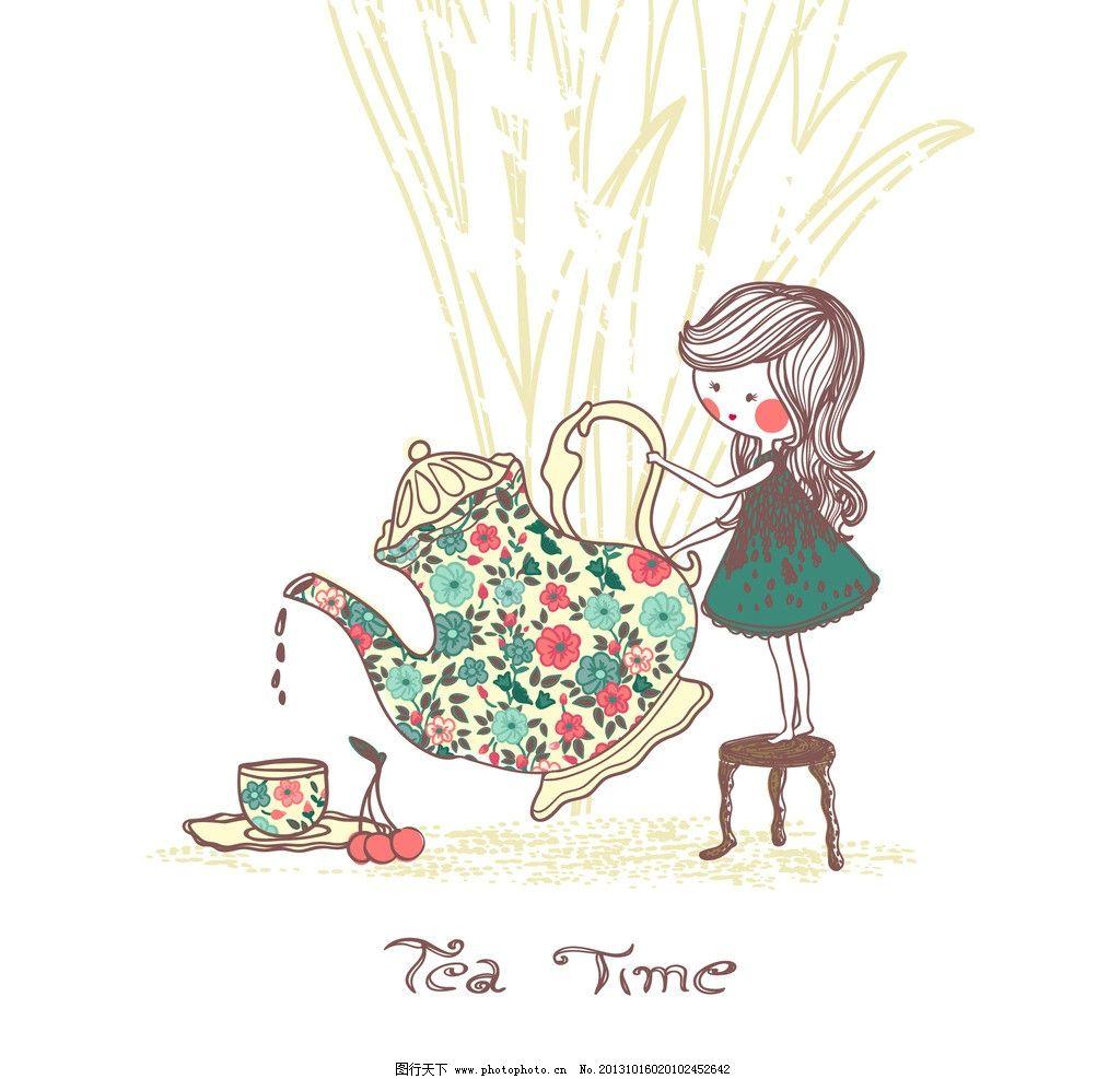 茶壶 彩色茶壶 卡通插画 倒茶 女孩 可爱卡通 儿童 卡通画 布纹图片