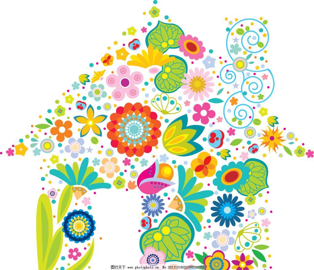 花朵房子 花纹 底纹 手绘 卡通 壁纸 手绘花纹 花边花纹 底纹边框